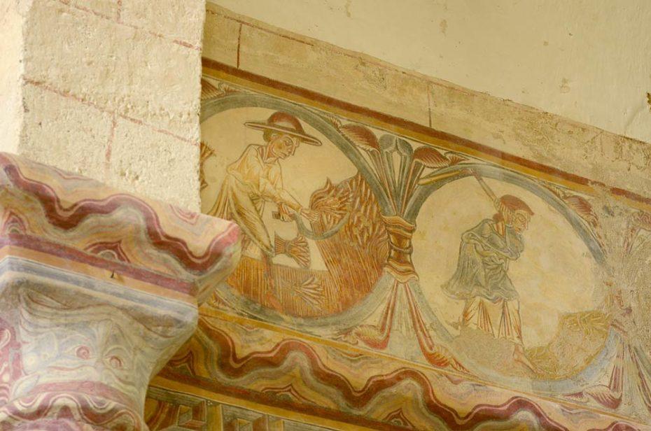 Travaux des champs : fresque murale